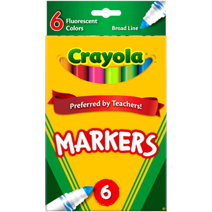 Crayola 6 ct. Fluorescent Colors, Broad Line Markers.