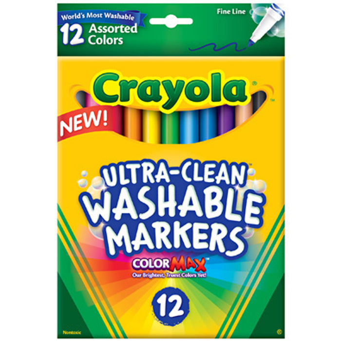 Crayola 12 ct. Ultra-Clean Washable Assorted, Fine Line, ColorMax Markers.