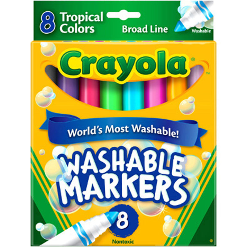 Crayola 8 ct. Ultra-Clean Washable Tropical Colors, Conical Tip, ColorMax Markers