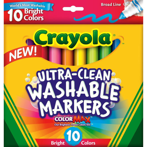 Crayola 10 ct. Ultra-Clean Washable Bright, Broad Line, Color Max Markers.