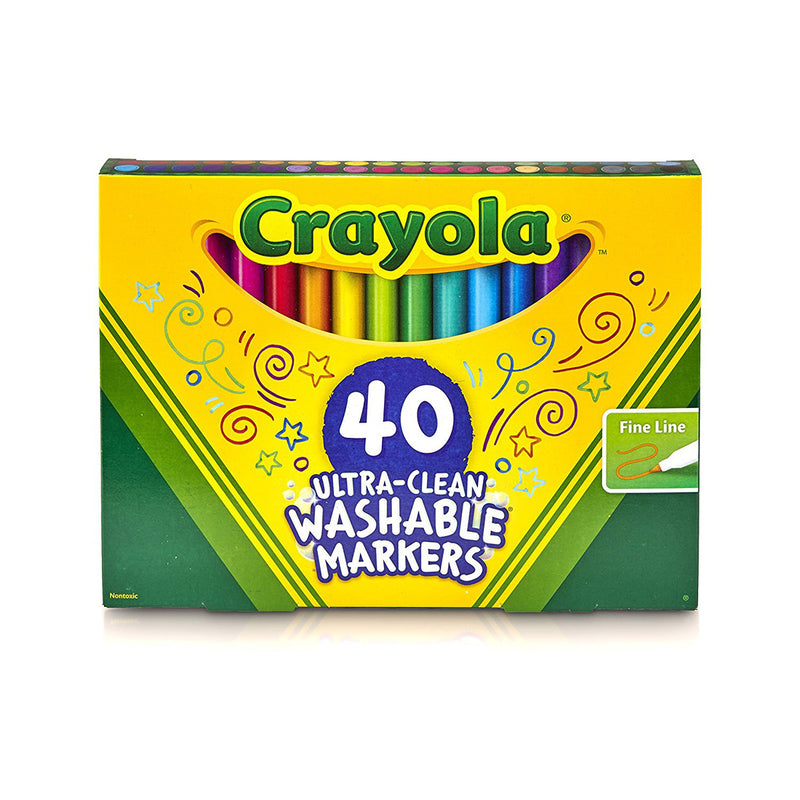 Crayola 40 ct. Ultra-Clean Washable Assorted, Fine Line, ColorMax Markers