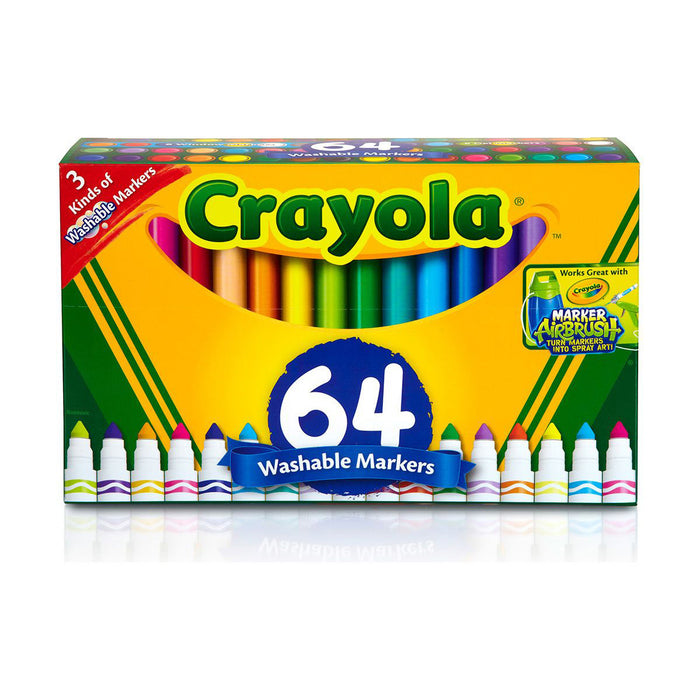 Crayola 64 ct. Ultra-Clean Washable, Broad Line Markers, Variety Pack.