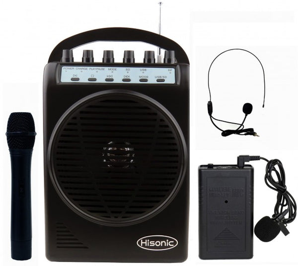 Hisonic VHF Dual Channel Wireless PA System with MP3 Player, FM Radio, True 90 Watts, Handheld & Lapel Mics