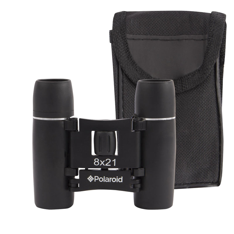 Polaroid 8x21 Compact Rubberized Binoculars with UV Lenses, Case & Strap