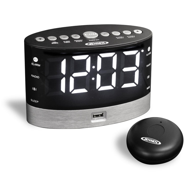 AM/FM Dual Alarm Clock Radio with Wireless Under Pillow Vibrator