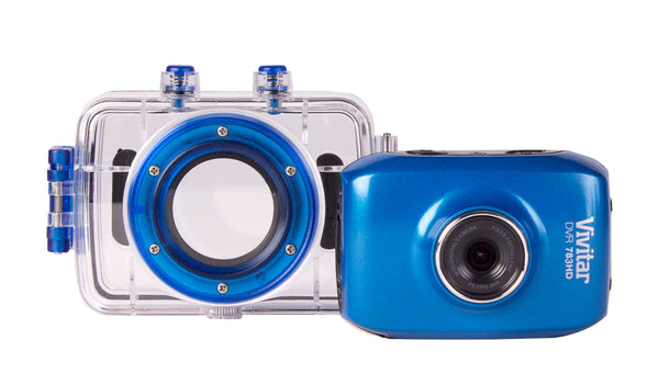 "Vivitar 5.1MP Sports Action DVR, Waterproof HD, 1.8"" LCD, 30 FPS-Blue"