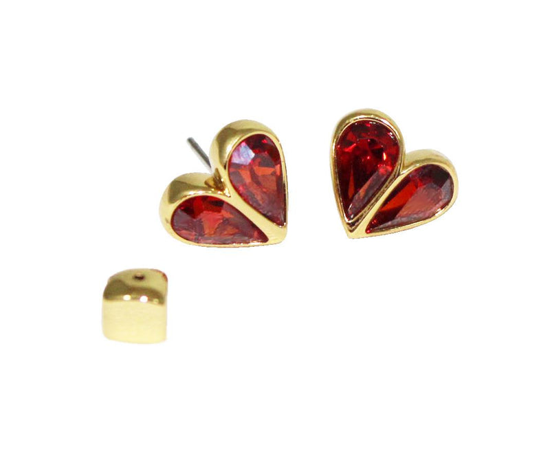 Kate Spade Rock Solid Stone Small Heart Studs - Ruby, Gold