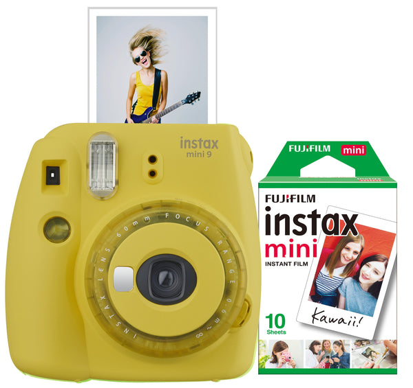 Instax Mini 9 Instant Camera w/ 10 Count Film Yellow