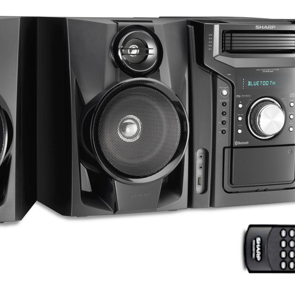 Sharp Audio 5 CD Changer, Cassette Deck, AM/FM Tuner, 350 Watts, 2-Way Stereo Speakers, USB, Remote Control