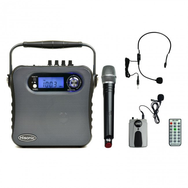 Hisonic UHF Dual Channel Wireless PA System-Bluetooth, MP3 Player, FM Radio, Voice Recorder, 2 Handheld Mics