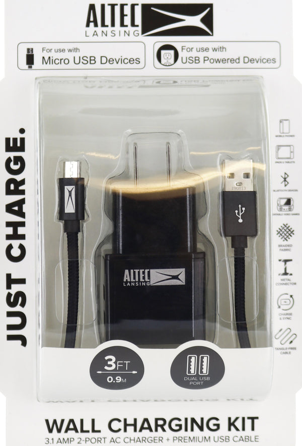 Altec Lansing 3 ft Micro & Dual USB AC Charger