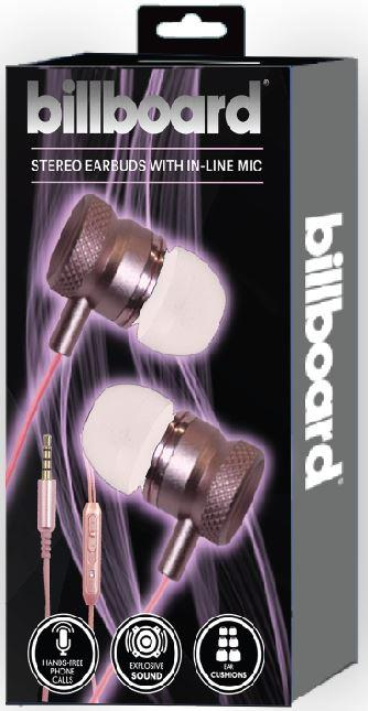 Billboard Wired Stereo Earbuds With Mic & Volume Controller