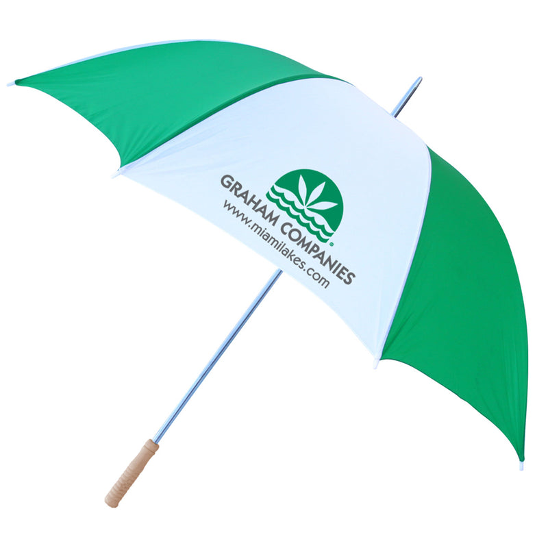 "60"" Windproof Umbrella Grn/Wht"