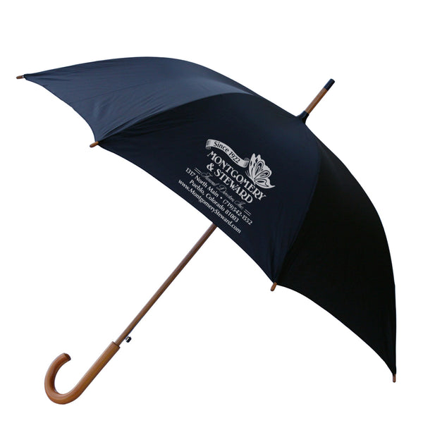 "48"" Wood Shaft Umbrella Black"