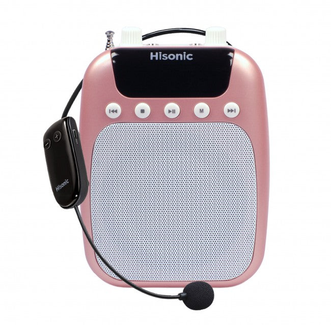 Hisonic UHF Wireless Rechargeable Waistband Amplifier with Recorder, FM Radio MP3 Player, Portable PA System