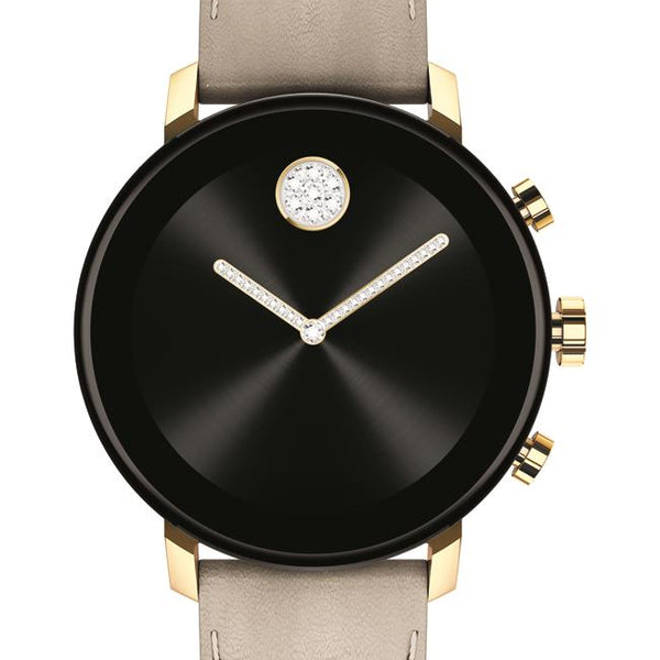 Movado Connect 2.0 Smartwatch, Unisex. Yellow Gold IP Case, Light Grey leather strap.