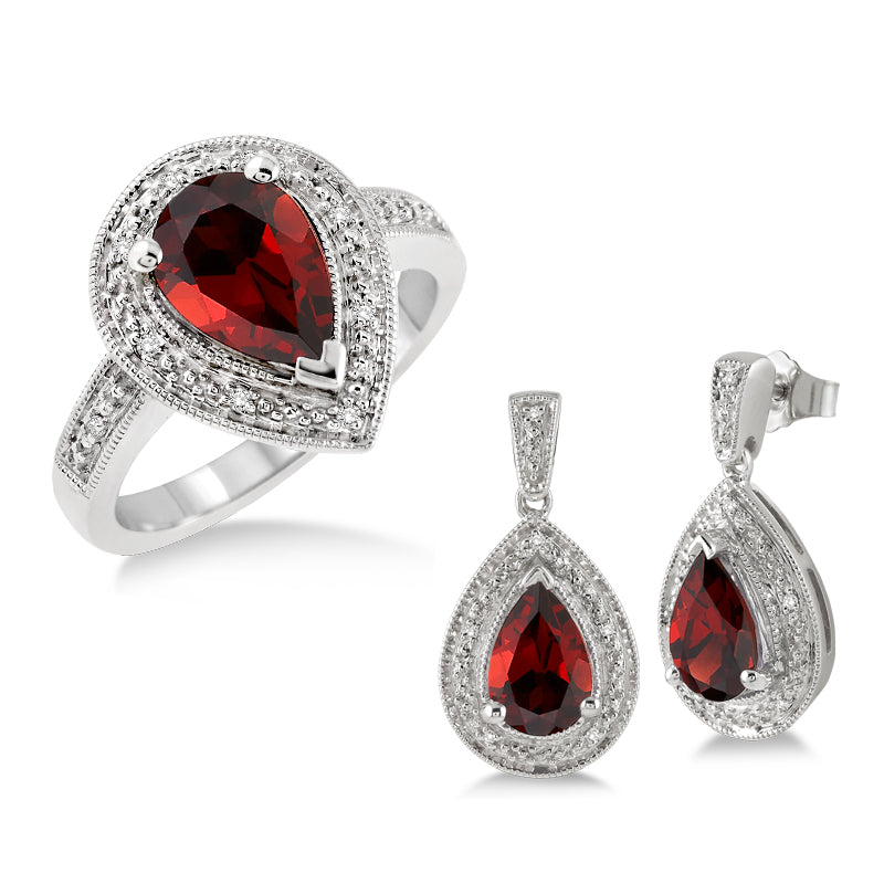 Garnet & Diamond Earring and Ring Set