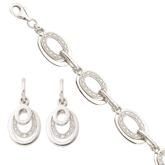 Diamond Bracelet and Earring Set