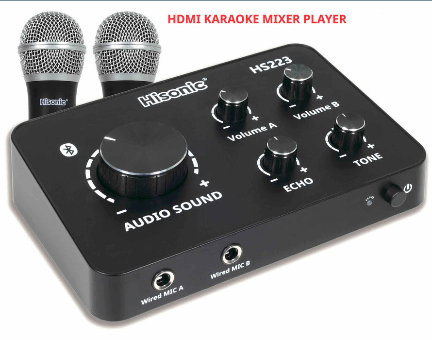 Hisonic UHF Wireless Microphone Karaoke Mixer, Bluetooth, HDMI & 2 Microphones