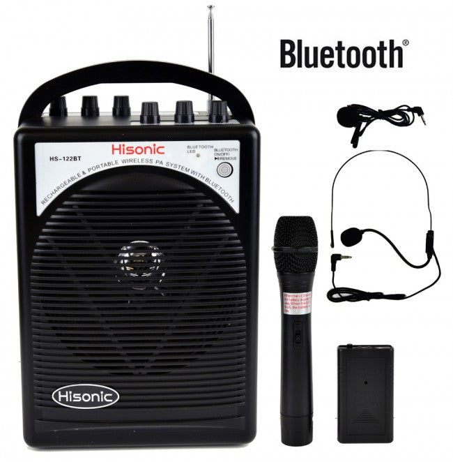 Hisonic Portable PA System-2-Channel Wireless Mics, Rechargeable, BT Streaming, Wireless Mic+1 Belt Pack