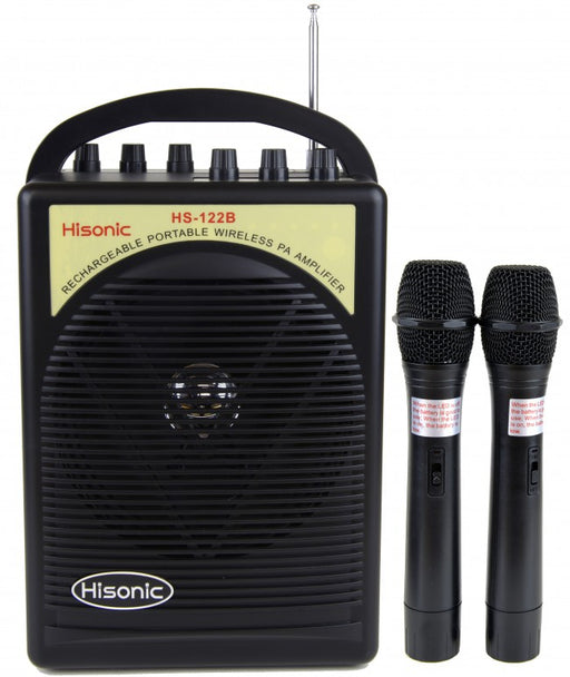 Hisonic 40 Watts Rechargeable Portable PA System with Built-in Dual Channel, 2 Wireless Handheld Mics