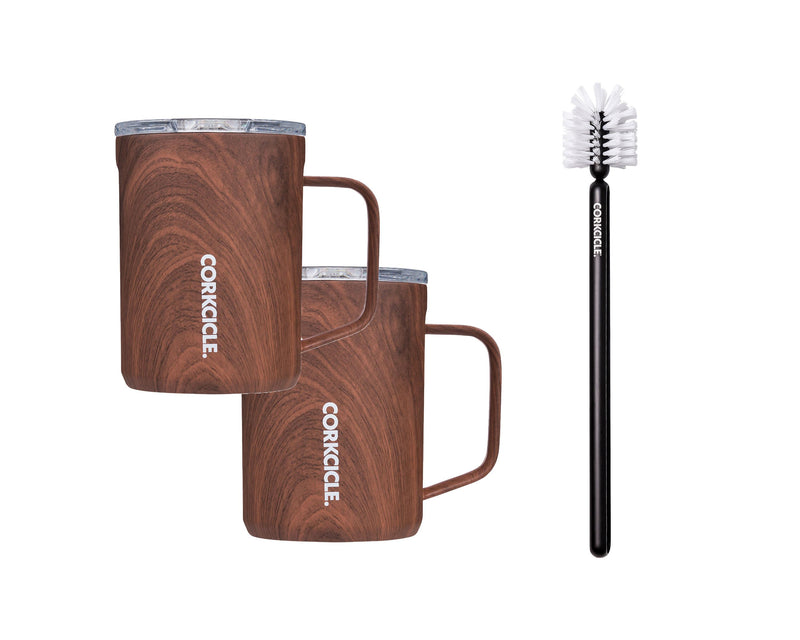 16oz Mug w/Bottle Brush - Walnut Wood, 2 Pack