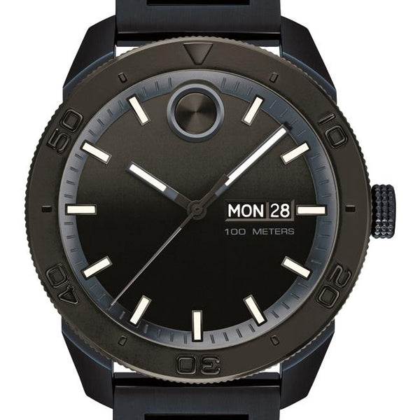 Movado Bold Sport Gents. 43.5 mm blue ion-plated SS case and bracelet. Black-toned dial.