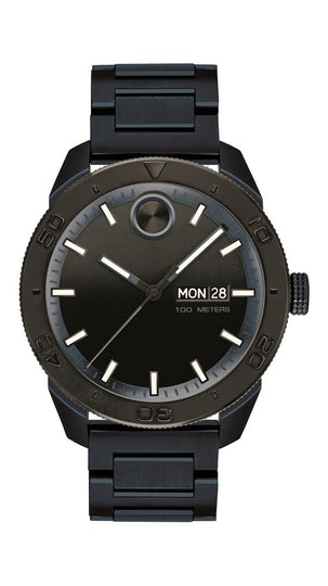 Movado Bold Sport Gents, 43.5 mm Blue Ion-plated SS Case and Bracelet, Black-toned Dial