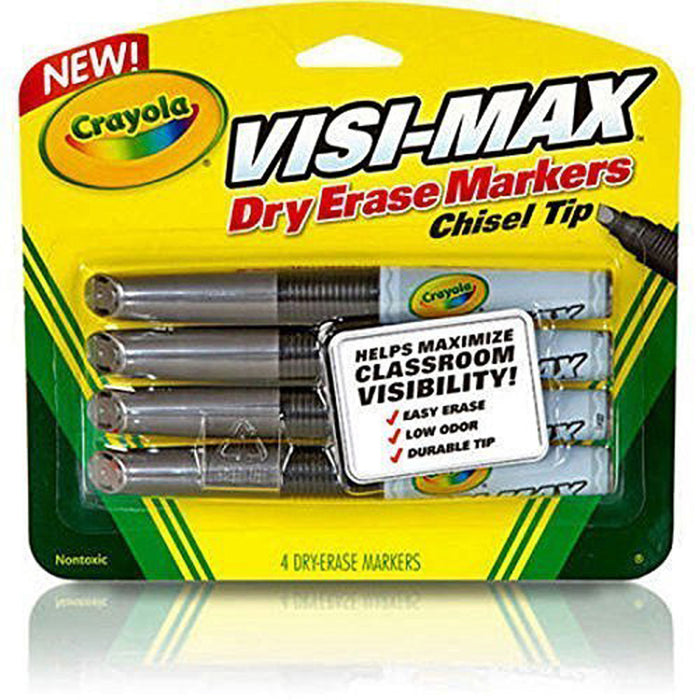Crayola 4 ct. Chisel Tip Black Visi-Max Dry-Erase Markers.