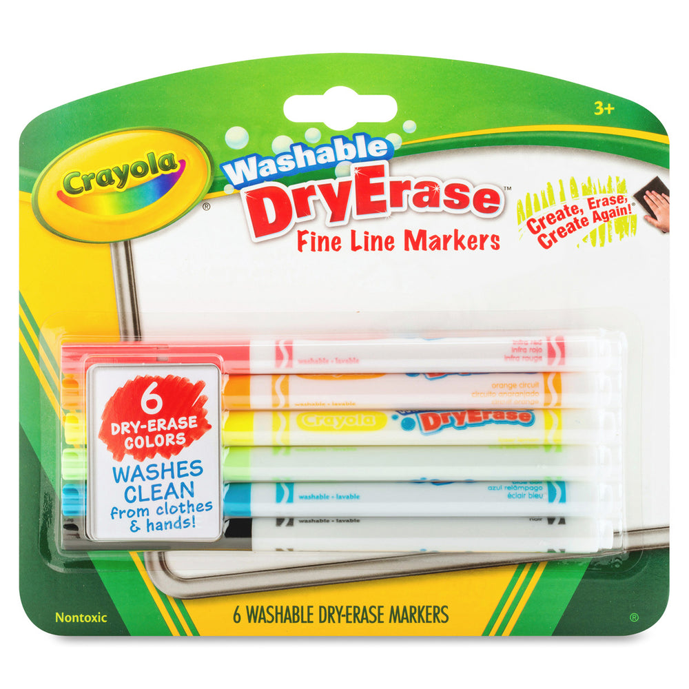 Crayola 6 ct. Dry-Erase Fine Line Washable Markers.