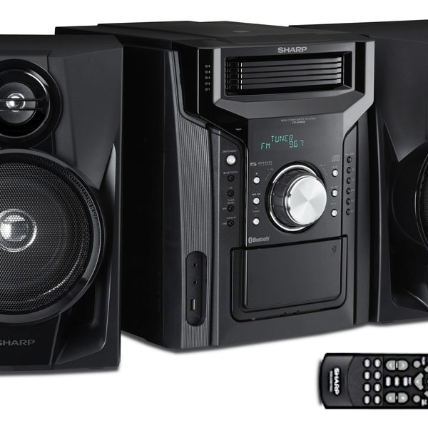 Sharp Audio 5 CD Changer, Cassette Deck, AM/FM Tuner, 240 Watts, 2-Way Stereo Speakers, USB, Remote Control