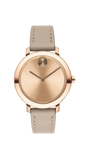 Movado BOLD Ladies, Pale RGIP SS Case with a Beige Leather Strap and an RG Dial