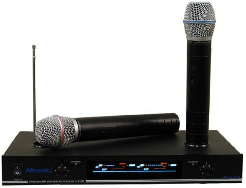 Hisonic VHF Dual Rechargeable Wireless Microphone System, Two Handheld Microphone With Charger