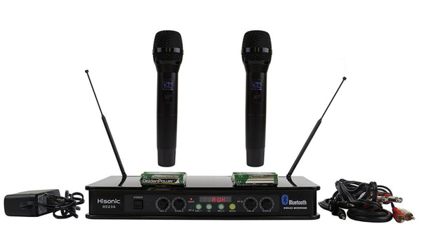 Hisonic Dual Channel Bluetooth VHF Handheld Wireless Microphone System Portable, Rechargeable