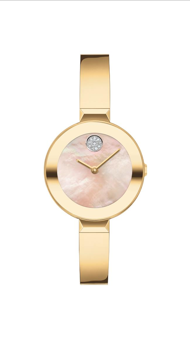 Movado Bold Ladies SS Case, Ionic Light Gold Plated Steel Bracelet, Yellow Mother of Pearl Dial