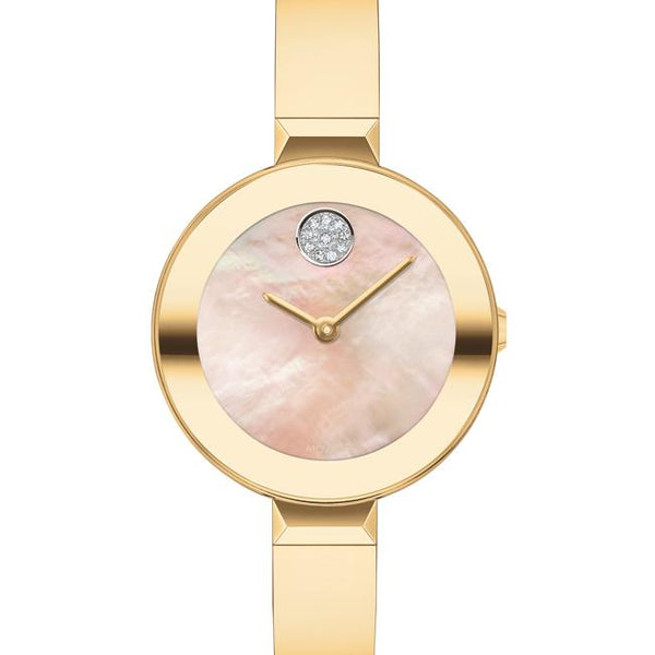 Movado Bold Ladies SS Case. Ionic Light Gold Plated Steel Bracelet. Yellow Mother of Pearl Dial,