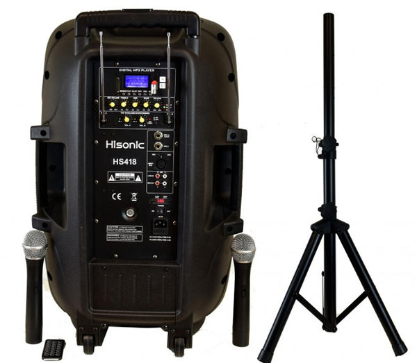 Hisonic Wireless Rechargeable PA System, 2-VHF Wireless Mics, BT, MP3 Player, Tripod and Remote