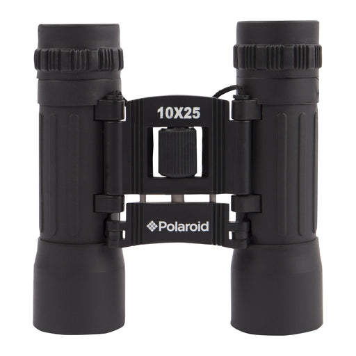 Polaroid 10X25 Compact Rubberized Binoculars with Wide Angle View, UV Lenses, Case & Strap