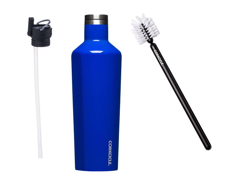 25oz Canteen w/Bottle Brush & Canteen Cap w/Straw - Gloss Cobalt