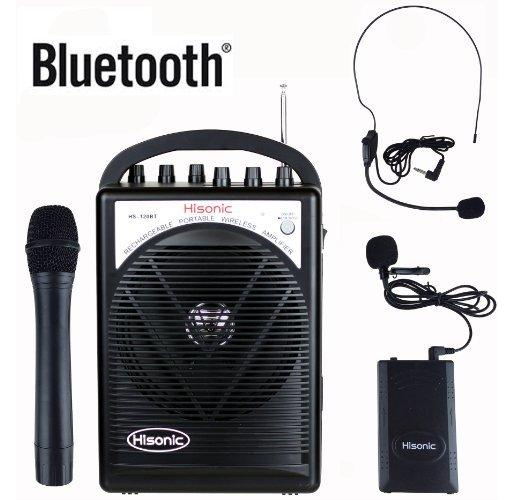 Hisonic Dual Wireless Microphone Rechargable PA System-Bluetooth Wireless Mic, Headset Boom Mic, Amp/Speaker