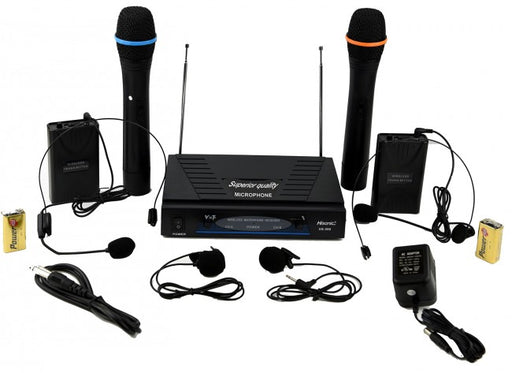 Hisonic Dual VHF Wireless Microphone System, Deluxe Package