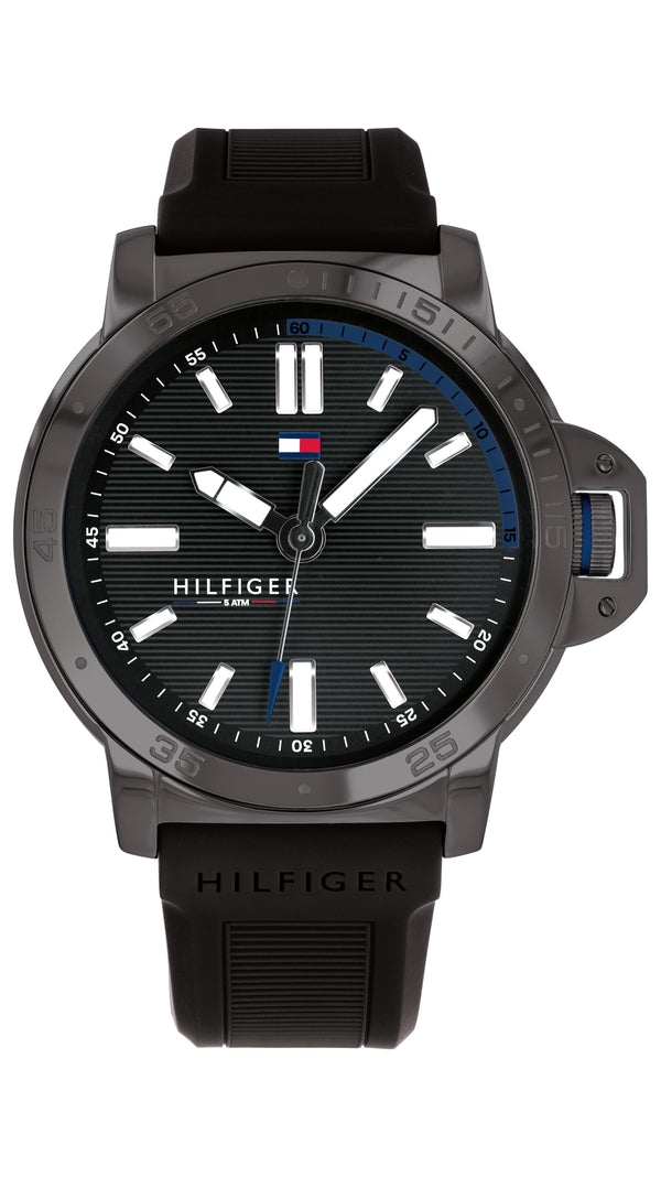Tommy Hilfiger Gents, Grey IP Case, Black Silicone Strap, Black Dial
