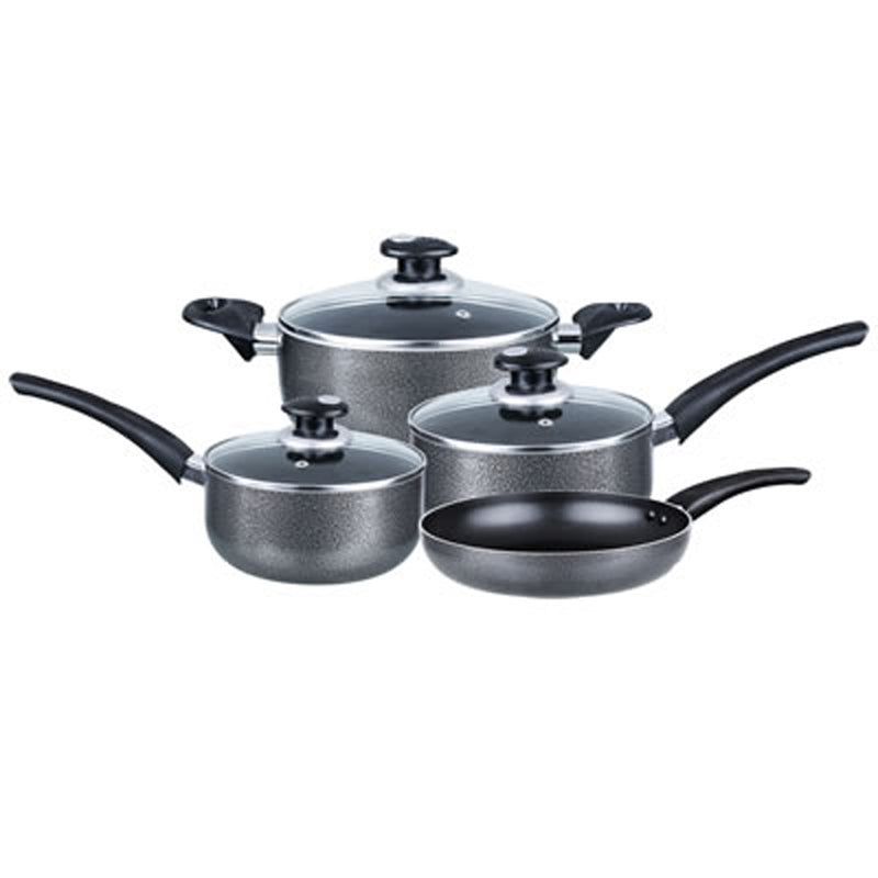 COOKWARE 7-PIECE ALUMINUM NON-STICK GRAY- GIFT BOX