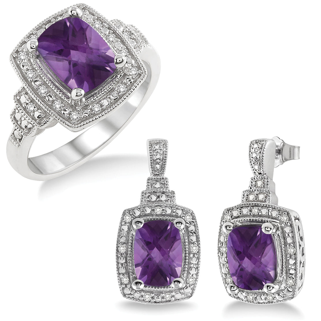 Amethyst Earring & Ring Set
