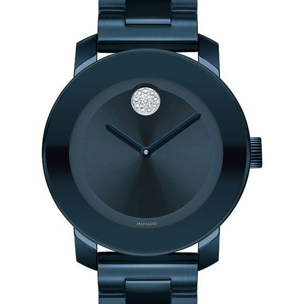 Movado Bold Ladies. Ion Plated Blue Steel Case & Bracelet. Ink Blue Sunray Dial W/Crystal Dot.