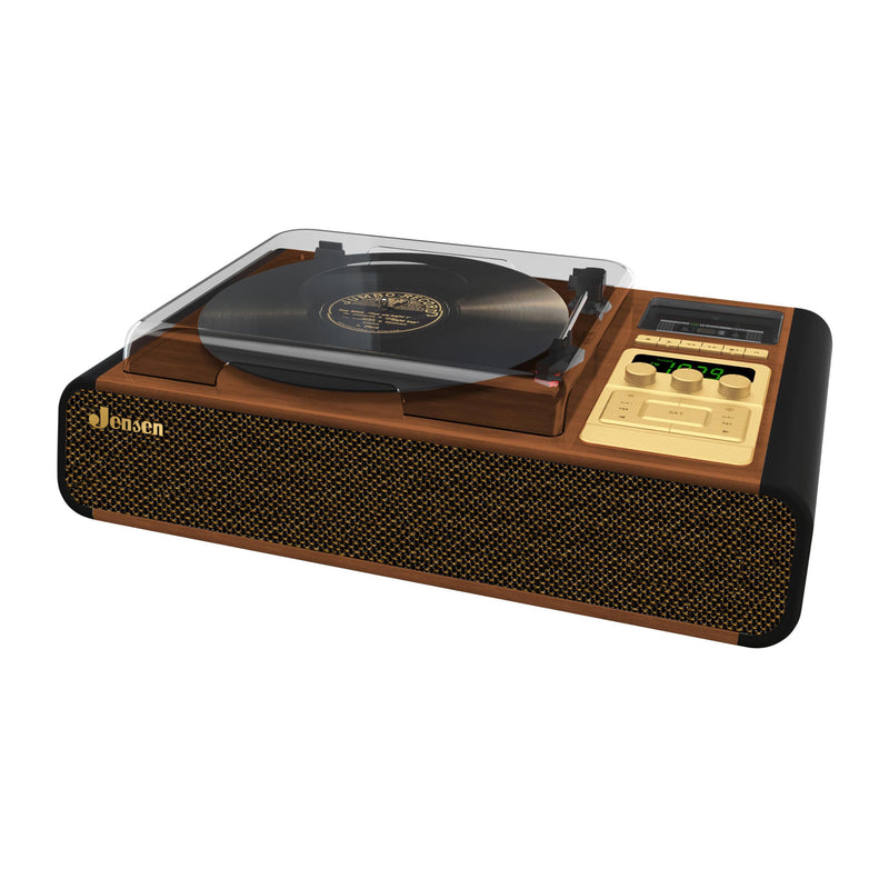 3 Speed Stereo Turntable with Pitch Control, Cassette Player/Recorder and AM/FM Radio