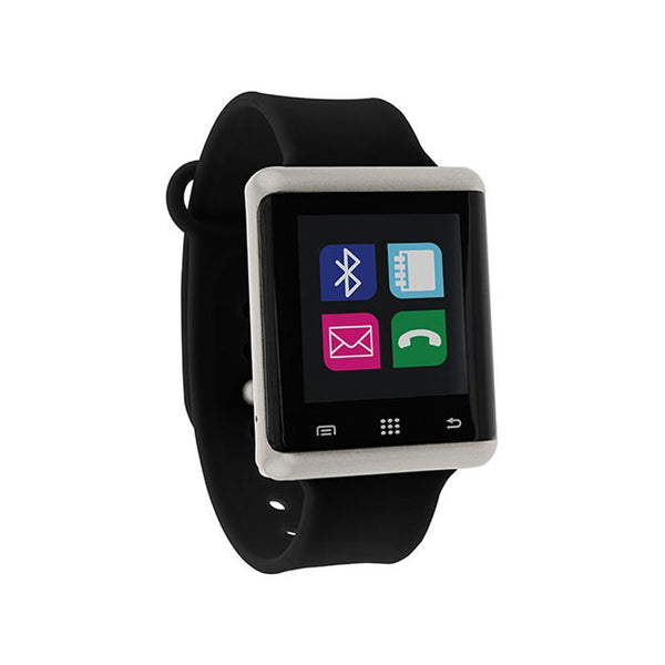 iTouch Wearables 45mm Air Smart Watch - (Silver with Black Silicone)