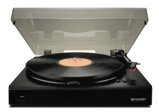 "Sharp Audio Basic Stereo Turntable, AUX Out Terminal, 7.7"" Platter, Auto return, AC Powered, Dust Cover"