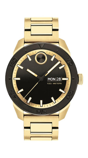 Movado Bold Sport Gents, 43.5 mm pale yellow SS Case, Pale Yellow Bracelet, Black-Toned Dial