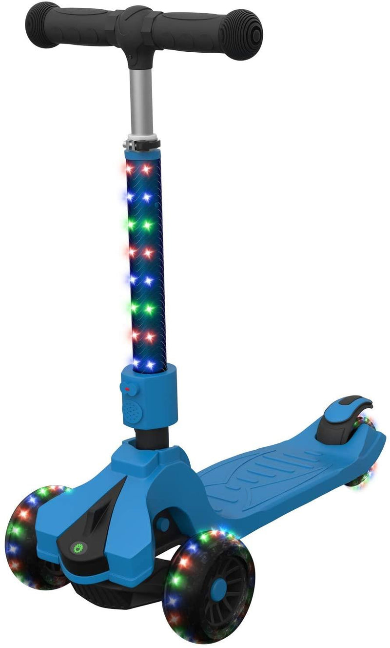 3-Wheel Lean-to-Steer Kids Kick Scooter with LED Lights, Blue